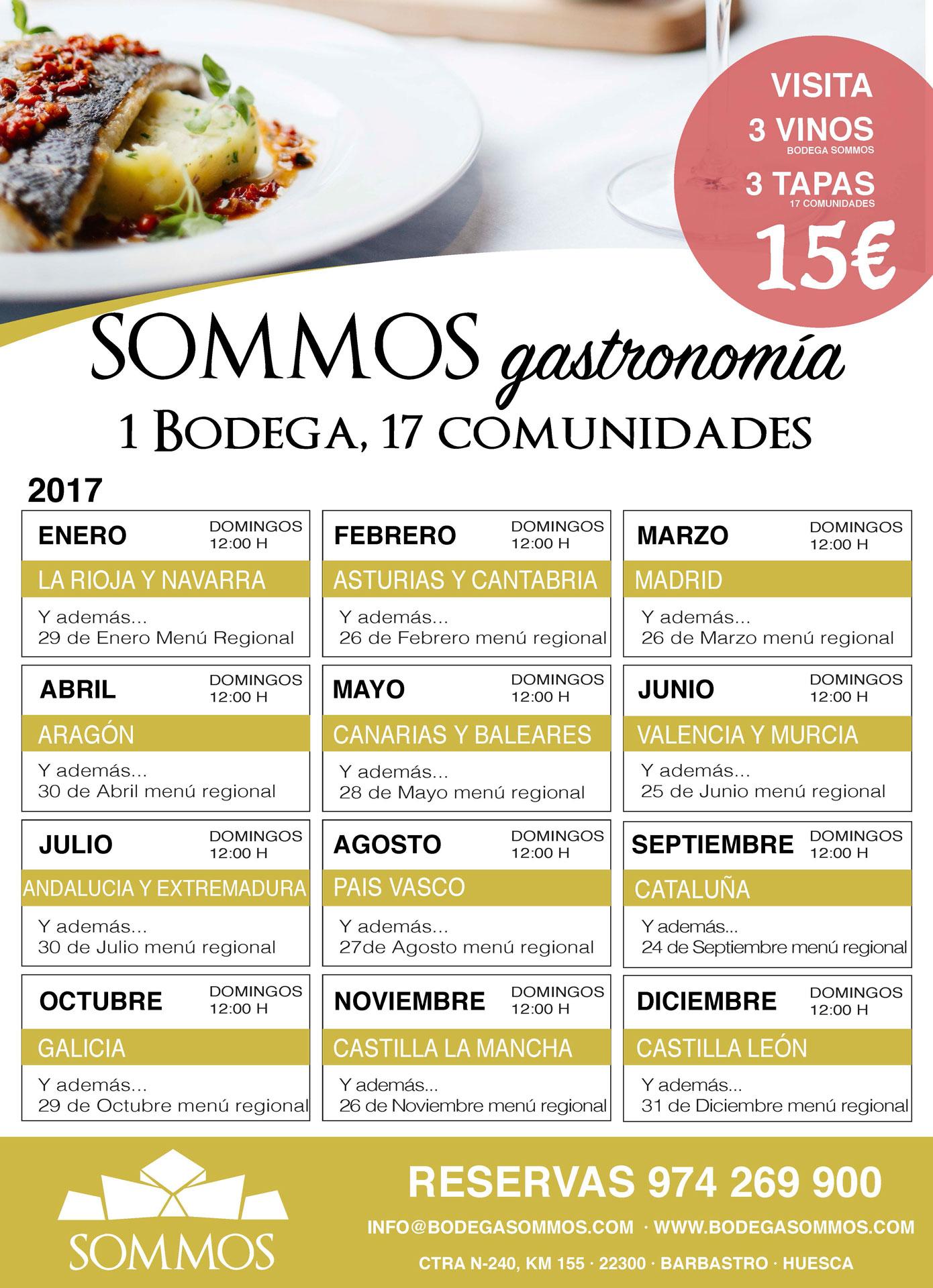 VISITA SOMMOS GASTRONOMIA BODEGA SOMMOS CALENDARIO